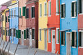 Colorful street of Burano Stock Photos