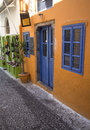 Colorful street of fira on santorini greece Royalty Free Stock Photography
