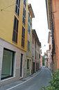 Colorful street in italy houses on the Royalty Free Stock Image