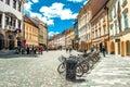 Colorful street Ljubljana summer Lubiana buildings clean urban a Royalty Free Stock Photo