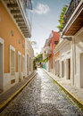 Colorful street in Old San Juan, Puerto Rico Royalty Free Stock Photo