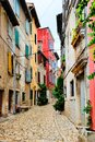 Colorful street in the Old Town of Rovinj, Croatia