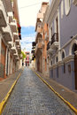 Colorful street scene in puerto rico of row houses san juan Stock Image