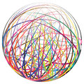 Colorful strings ball complex made of many curved Royalty Free Stock Photography