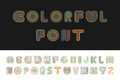 Colorful striped funny font. English alphabet.