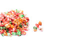 Colorful sugared popcorn isolated on white Stock Photos