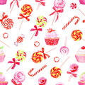 Colorful sugarplums watercolor vector print and cupcakes Stock Photos