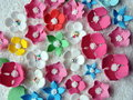 Colorful sugary flowers on white coconut shavings Royalty Free Stock Photography