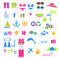 Colorful summer and beach icon creative design of set Stock Images