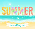 Colorful Summer is calling words on the background of the sea beach. Exotic banner, poster, flyer, card, postcard, cover