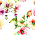 Colorful summer flowers seamless wallpaper of watercolor painting Royalty Free Stock Photos