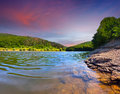 Colorful summer landscape on river the Royalty Free Stock Photography