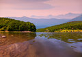 Colorful summer morning on river the Royalty Free Stock Image