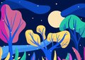 Colorful summer night in the forest with a river and full moon. Vibrant 2d illustration with pink, green, yellow