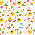 Colorful summer seamless pattern with sun, crab, starfish, palm,