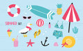 Colorful summer set with hand drawn elements pineapple, ice cream, seagull, surfboard, ball, swimwear, hat, beach Royalty Free Stock Photo