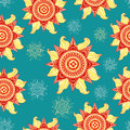 Colorful summer sun seamless pattern on aquamarine background Royalty Free Stock Photo
