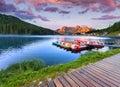 Colorful summer sunrise on the Lake Misurina, in Italy Alps, Tre Cime Di Lavaredo, Dolomites, Europe. Royalty Free Stock Photo