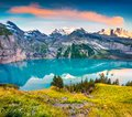 Colorful summer sunrise on the unique Oeschinensee Lake. Splendid morning scene in the Swiss Alps with Bluemlisalp mountain, Kande Royalty Free Stock Photo