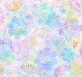 Colorful summery pattern of flowers and leaves for backgrounds scrapbooking wallpapers Royalty Free Stock Image