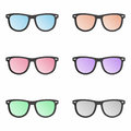 Colorful sunglasses set Royalty Free Stock Photo