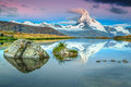Colorful sunrise with Matterhorn peak and Stellisee lake, Valais, Switzerland Royalty Free Stock Photo