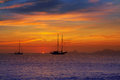 Colorful sunset of Ibiza view from formentera Royalty Free Stock Photography