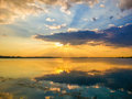 Colorful sunset and lake reflections on morii lake bucharest splendid at from Stock Photography