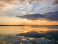 Colorful sunset and lake reflections on morii lake bucharest splendid at from Royalty Free Stock Photography