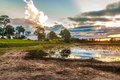 Colorful Sunset in Pantanal River - Pantanal is one of the world's largest tropical wetland areas located in Brazil , South Americ Royalty Free Stock Photo