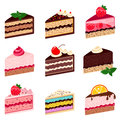 Colorful sweet cakes slices pieces on white background