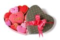 Colorful sweet heart cookies in festive box isolated top view Stock Images