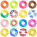 Colorful swim rings vector set. 3d realistic life buoy collection with american and UK flag, chocolate doughnut Royalty Free Stock Photo