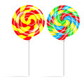 Colorful swirl lollipop set isolated on white