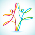 Colorful swirly figures dancing line vector Stock Images