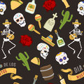 Colorful symbols for Dia de Los muertos day of the Dead Day vector seamless pattern background