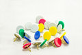 Colorful tacks for office use Stock Photography