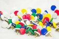 Colorful tacks for office use Royalty Free Stock Photo