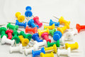 Colorful tacks for office use Royalty Free Stock Photos