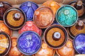 Colorful tajines for sale in a market stall Royalty Free Stock Photography