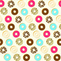 Colorful tasty topping donuts seamless pattern