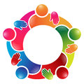 Colorful team work people circle in a single decision Royalty Free Stock Photo
