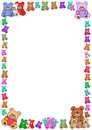Colorful teddies border Stock Photo