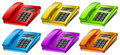Colorful telephones illustration of the on a white background Stock Photo