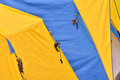 Colorful tents color of yellow and blue of shown as outdoor goods and colored pattern Stock Photography