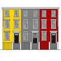 Colorful terraced town houses Notting Hill in London. England Travel landmark. United Kingdom architecture sightseeing