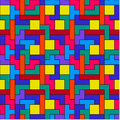 Colorful tetris pattern geometric inspired by the computer game Stock Photo