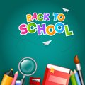 Colorful text Back To School with paper plane and education supplies element such as book, magnifying glass, colored pencil on
