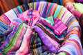 Colorful textiles from morocco in a souk in Royalty Free Stock Photography