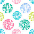 Colorful textured circle seamless pattern, blue, pink, green round grunge polka dot, wrapping paper. Royalty Free Stock Photo